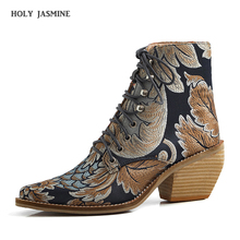 2019 Autumn New Retro Women Square Heel Embroidery Suede Boots Lace-Up Boots Pointed Toe Shoes Square Heel Shoes ankle boots hee grand platform winter warm women ankle boots pointed toe shoes women lace up solid faux suede ankle boots shoes xwx6760