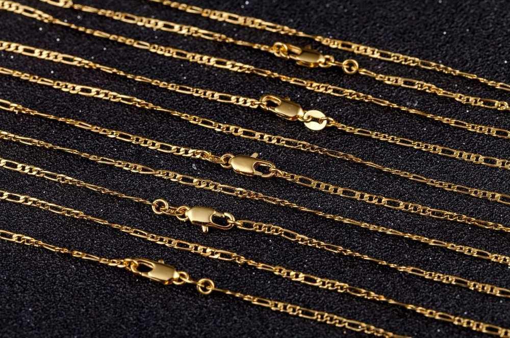 """2 MM Slim נשים/גברים זהב/כסף צבע שרשרת פיגארו שרשרות 16 """"18"""" 20 """"22 """"24"""" מפעל גברים של שרשראות תכשיטי 18 K חותמת"""