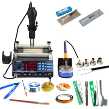 YIHUA 853AAA soldering station 3IN1 650W SMD Hot Air Gun 60W Soldering Irons 500W Preheating Station Solder station EU US PLUG