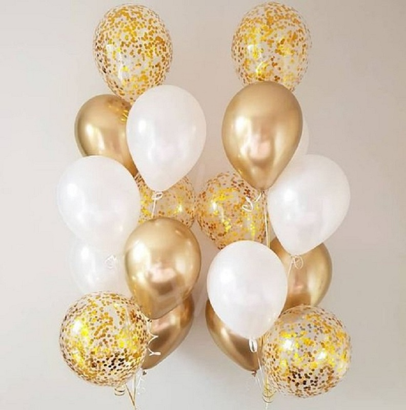 18pcs 10 12 inch White and Gold Balloon metallic wafer Balloons For Party Decorations Wedding Birthday Party Supplies in Ballons Accessories from Home Garden