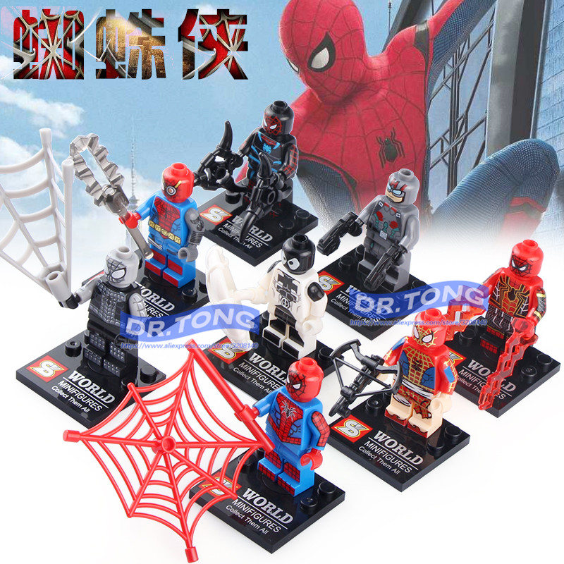 80pcs/lot SY674 Marvel Spiderman Figure Set Venom Carnage Iron Spider-Man Building Blocks Sets Model Bricks Toys Spider Man lecgos 8pcs lot captain america iron man building blocks sets children model bricks toys lecgos compatible