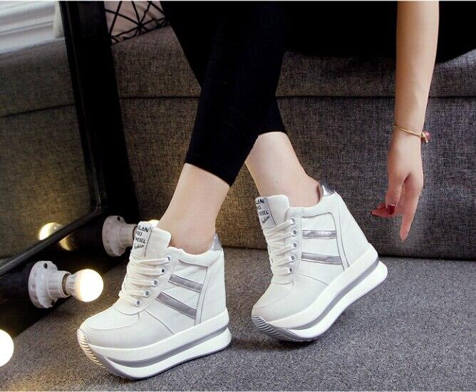 Moda 2016 Cuñas Tacones Altos Solos Zapatos de suela gruesa de Alta Top Casual de Las Señoras de Las Mujeres con cordones zapato.
