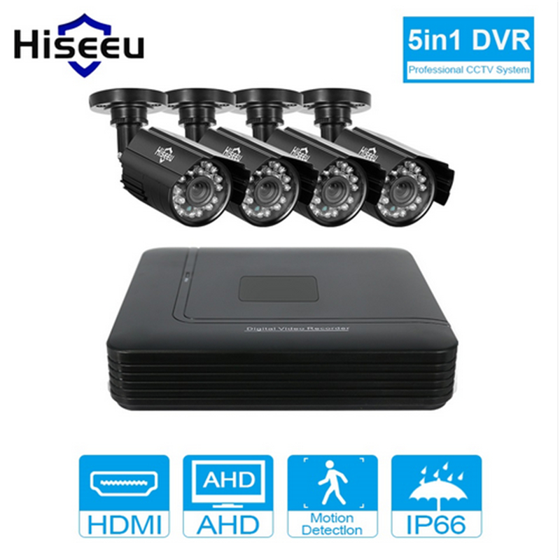 Hiseeu 4CH CCTV System 720P Mini DVR For CCTV Kit XMEYE 1200TVL 720P IR Bullet Outdoor