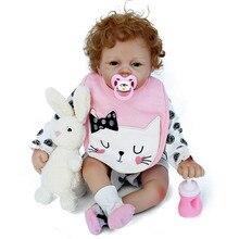 2018 חדש הגעה 22inch 55cm תינוק סיליקון Reborn ויניל בובה מתולתל שיער Bebe Reborn תינוקות צעצועים עבור הילד Juguetes Brinquedos
