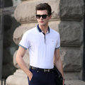 High quality new fashion solid color men's summer turndown collar polo shirt