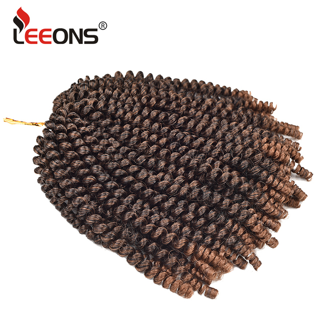 """Leeons 8"""" Fluffy Spring Twist Hair Crochet Hair Extensions Black Brown Ombre Twist Braiding Hair Synthetic Twists Hair For Women"""