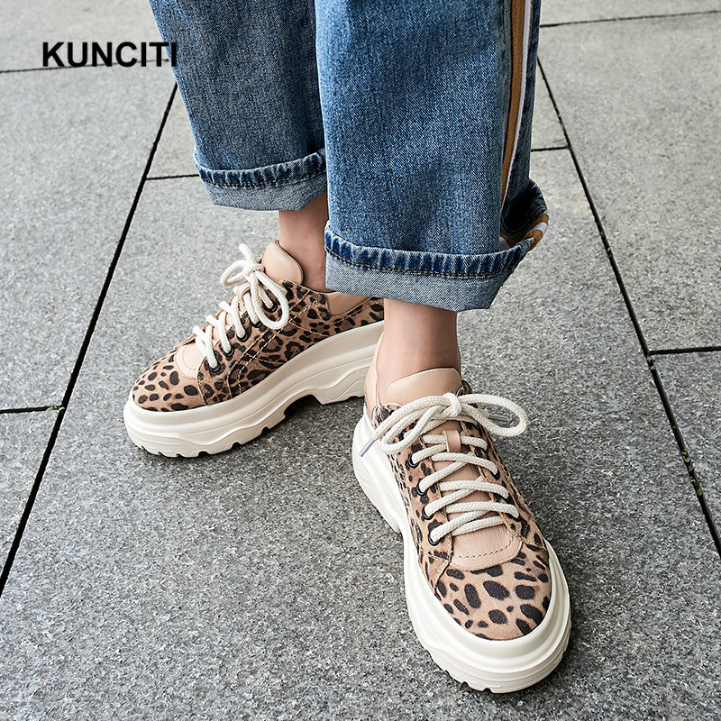 Cuero De Black Gamuza Leopardo Vintage Otoño 2019 Mujeres leopard F961 Cómodo Zapatillas Plataforma Casual Zapatos Encaje Primavera 0Axx1T5q
