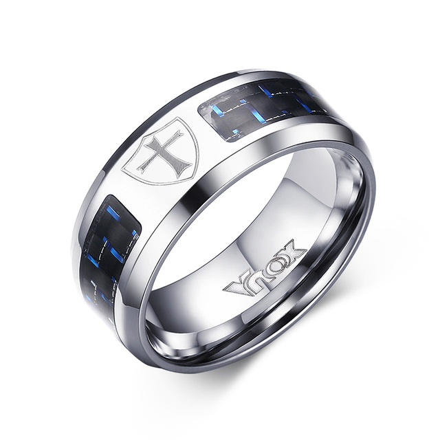 Mens Rings Stainless Steel Black and Blue Carbon Fiber Inlay Cross