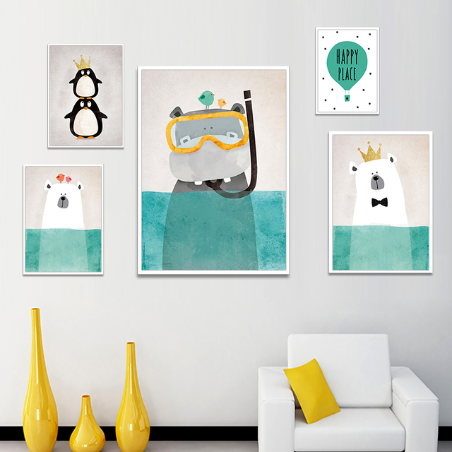 Modern Poster Nordic Cartoon Animals Art Print Canvas Painting Kawaii Poster Wall Picture Art kids Home Decoration Wall Decor