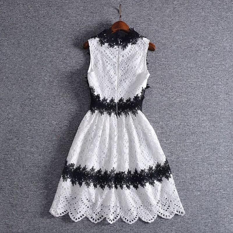 Genou Crochet Femmes Ligne Sexy Blanc Longueur Noir Ventes Vêtements Manches Une Robe Au Printemps Coréenne 2018 Sans Col Et V Profond IFqTIwr