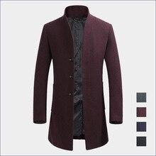 2016 New Men's Winter Woolen Coat Thickening Cashmere Coat Collar Windbreaker 3XL Warm High-Quality Wool Business Casual MK502