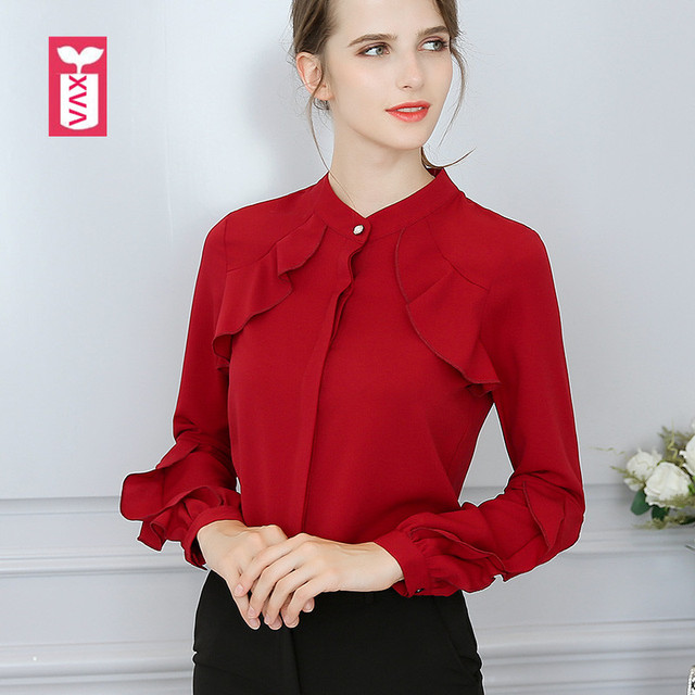 Export Prairie Chic Wine Red Blouse Womens Long Sleeve Ruffles Shirts Girl  Slim White Chiffon Tops Tees Summer New 2018 8884830cd58b