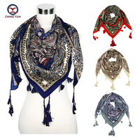 New Pattern Ethnic Russian Style Heavy Silk Tassels Bandana Square Scarves Autumn Winter Wraps Shawl Cotton