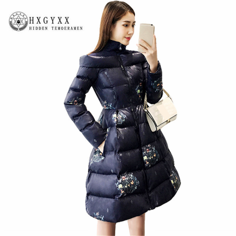 Floral Print A-line Winter Jacket Women Clothing Turtleneck Long Quilted Coat Wadded Outwear Slim Warm   Parkas   2019 Casaco Okd310