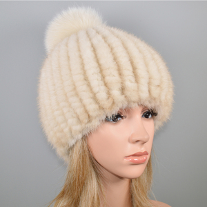 Image 5 - 2020 新ラブリーリアルミンクの毛皮の帽子女性の冬のニット本物のミンクの毛皮ビーニー帽子キツネの毛皮のポンポンpoms厚い暖かいリアルミンクの毛皮帽