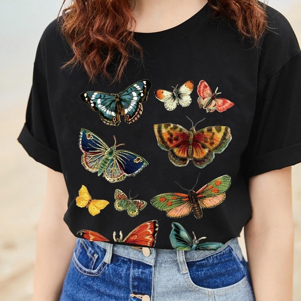 Kuakuayu-XSX Butterfly Graphic Tee 2018 New Summer Fashion 100% Cotton Casual Unisex Women Men T-Shirt Cool Black T-Shirit