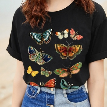 Kuakuayu-XSX Butterfly Graphic Tee 2018 New Summer Fashion 100% Cotton Casual Unisex Women Men T-Shirt Cool Black T-Shirit