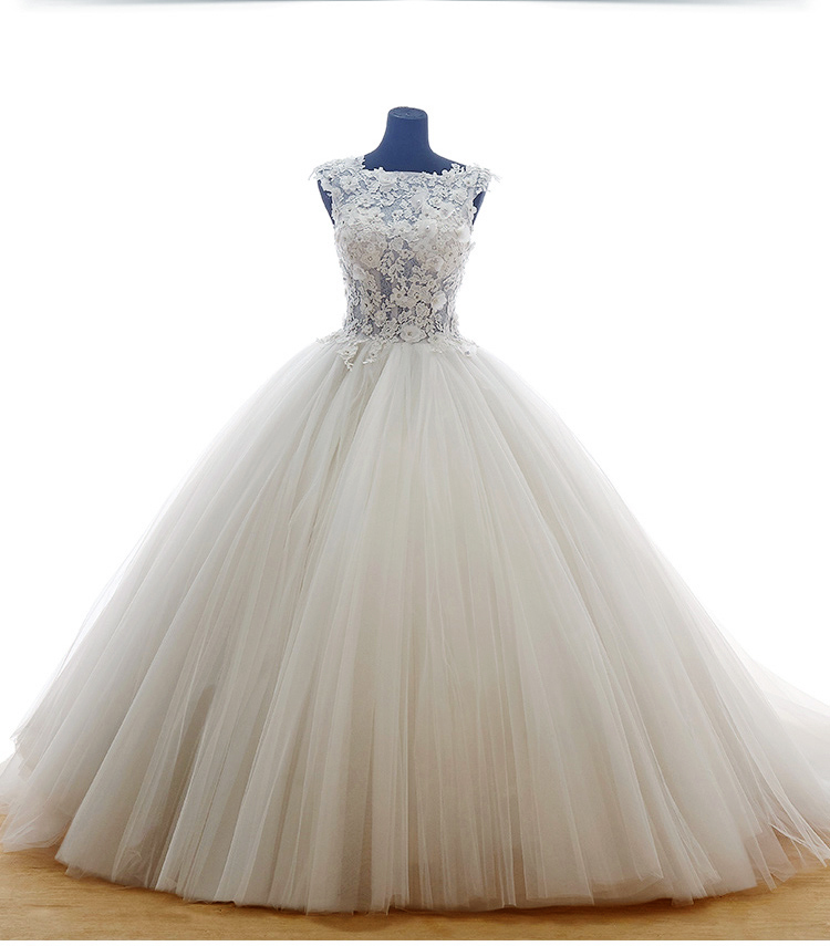 Real Images vestidos Appliques and Flowers Lace Top Ball Gown ...
