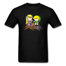 Valentines Couple Matching Black T Shirt 2018 Legend Of Zelda Cartoon Printed Men T-shirt Game Anime Tops GG Clothing