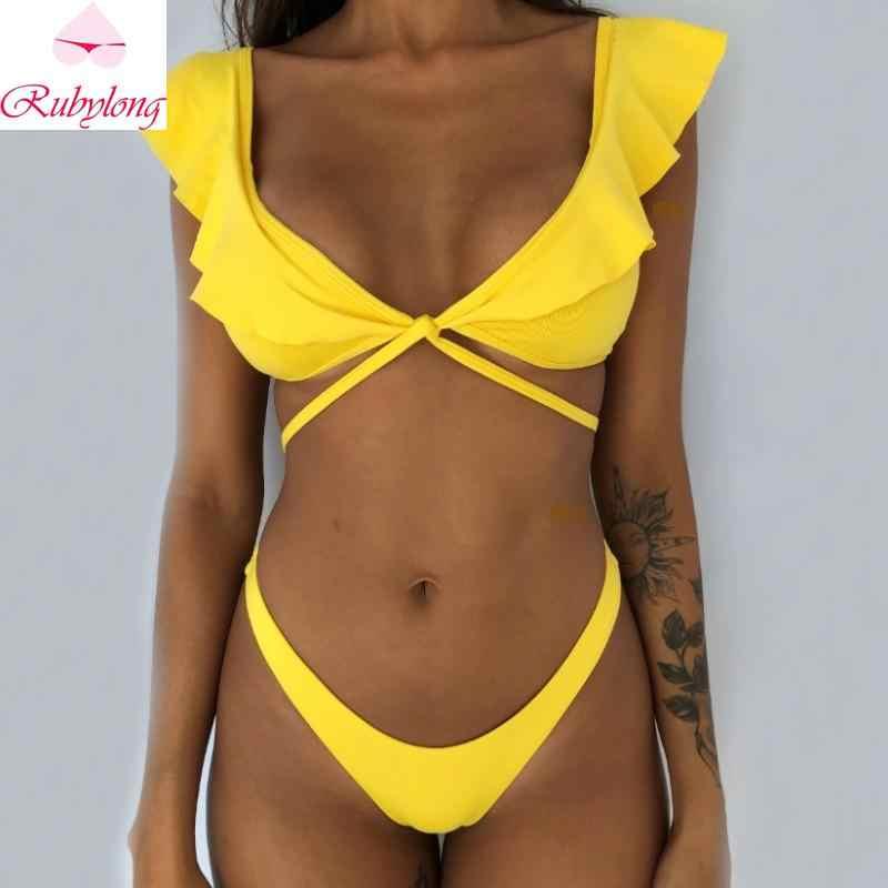 Rubylong 2019 Ruffles Bikini mujeres Sexy Vintage traje de baño brasileño Tanga Bikini conjunto femenino Retro traje de baño Push Up traje de baño
