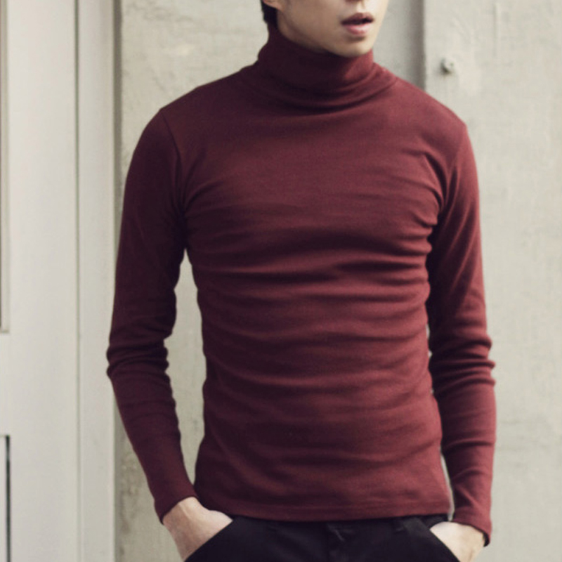 Spring and Autumn 2018 New Male Fine Cotton Pure Color Fashion Turtle Neck Long Sleeve T-shirts Men Slim Leisure Knitted T-shirt ...
