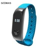 SCOMAS Silicone Carbon Fiber replacement Strap Band For XIAOMI Band 2 Smart Wristband Smart bracelet strap for XIAOMI MI BAND 2