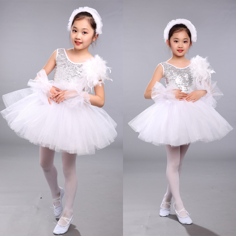 Kids Sequined White Swan Lake Ballet dance Costumes Professional Tutu Ballet Dress Girls Stage Classical Ballet Dancewear Dress