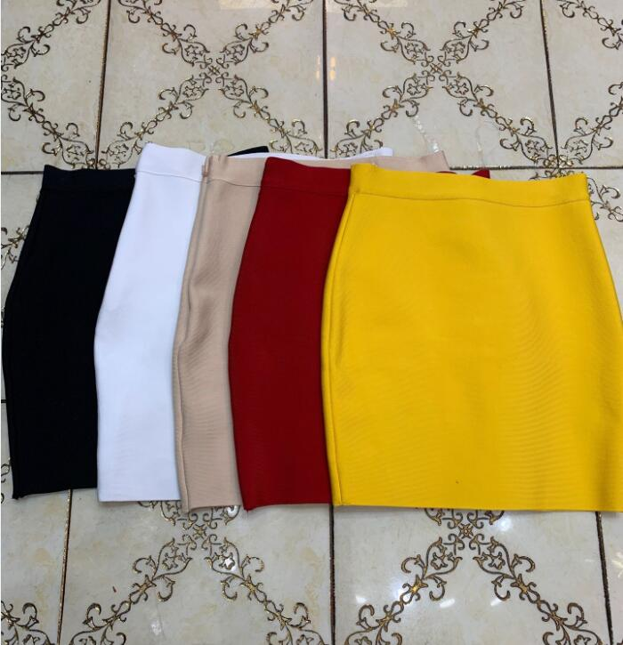 Wholesale Free Shipping Candy Color Sexy Mini Bandage Skirt 2019 Designer Pencil Skirt Faldas 43cm