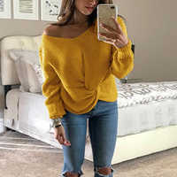 New Fashion Twist Knot Women Sweater 2019 Autumn Sexy V Neck Knitted Sweater And Pullover Tops Mujer SJ1560E