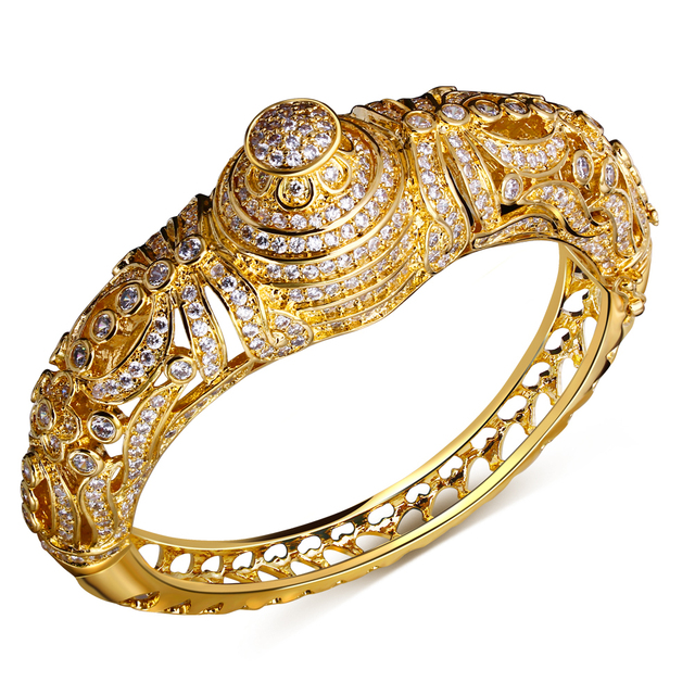 Nice Wedding Bracelets Europe and America style Bangle gold plated with Cubic zircon luxury Women Bangles free shipment