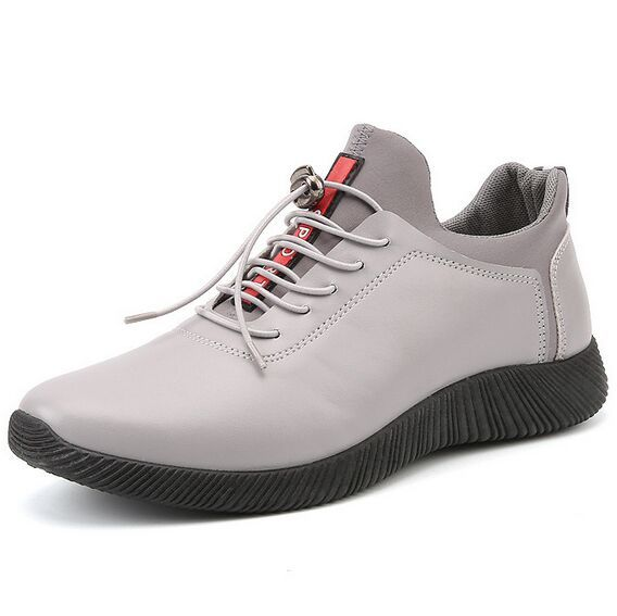 Size 39~44 New Sport Mens Shoes Gray Leather Shoes Breathable Fashion Lace-up Red Casual Mens Shoes 2017 chaussure homme