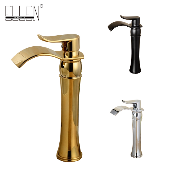 Tall bathroom waterfall wash basin faucet chrome oil rubbed bronze gold finish sink tap bend spout mixer new oil rubbed bronze wide waterfall spout bathroom sink basin mixer faucet two handles widespread lavatory sink faucet