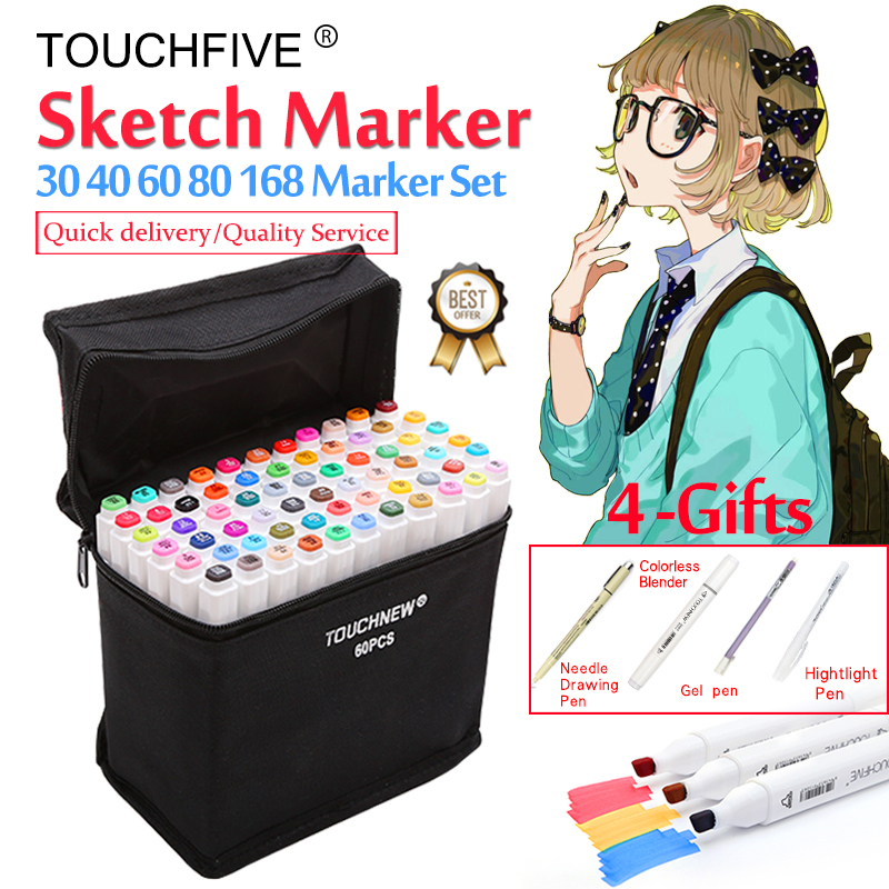 Touchfive Marker 30/40/60/80 / 168Colors Art Marker Set Oly Alcohol Based Sketch Markers Pen pro kreslení umělců Manga Animation