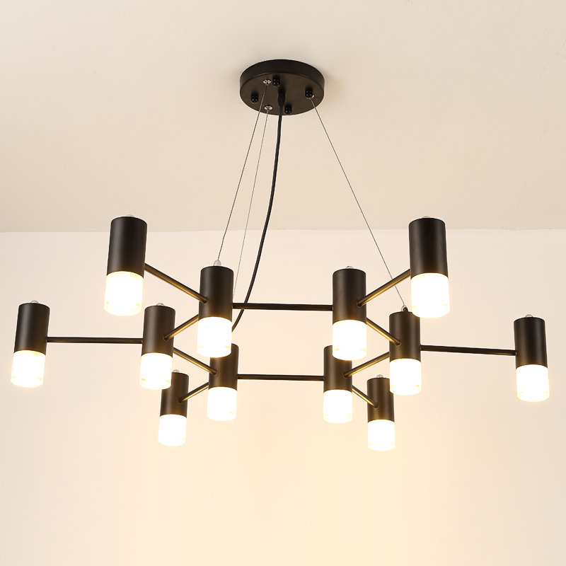 Black Iron Chandelier Modern Glass Lampshade For Dining Room Lighting LED Light Fixtures Lamparas De Techo
