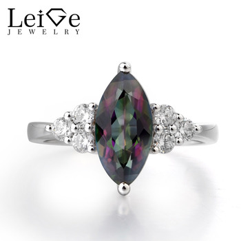 Leige Jewelry Mystic Topaz Promise Wedding Rings 925 Silver Marquise Cut Gemstone November Birthstone Ring Party Gifts for Woman