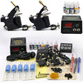 Professional Tattoo Set 2 Tatoo Guns 7 Color Inks tattoo kit complete machine rotary Power Supply body art for beginner cheap