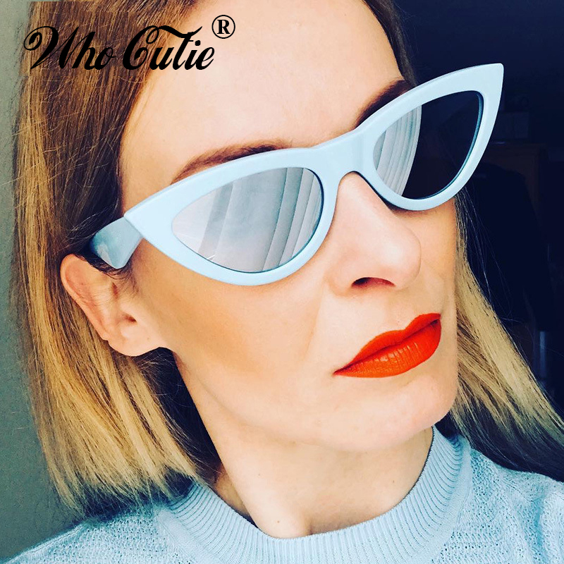 f3d5a73a9ff WHO CUTIE 2018 Oversized Retro Cat Eye Sunglasses Women Brand Designer  Vintage Female Fashion Mirror Lens