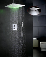 Contemporary Thermostatic Bathroom Shower Faucet Set LED Temperature Sensitive Shower Head Embedded Box Shower Mixer Valve