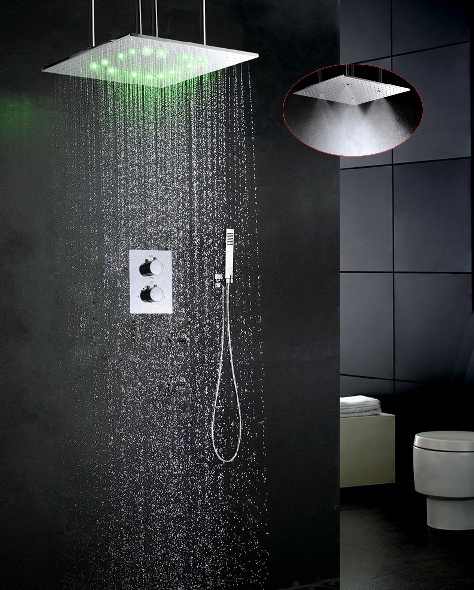 Contemporary Thermostatic Bathroom Shower Faucet Set LED Temperature Sensitive Shower Head Embedded Box Shower Mixer Valve exposed bathroom thermostatic shower faucet set 10 inch round led temperature sensitive rain bath shower head brass hand shower