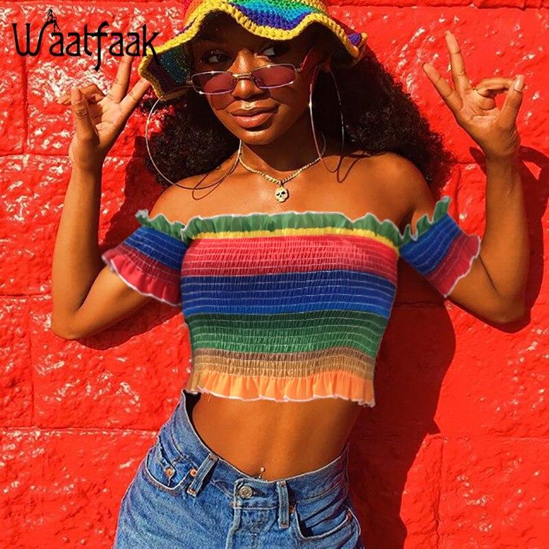 Waatfaak Радуга плиссированные майка Bodycon Эластичный с плеча сексуальный топ футболка с короткими руками Повседневное уличной моды