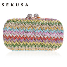 Sekusa Chains Hard Knitted Fashion Women Evening Bags Diamonds Small Day Clutch Party Wedding Shoulder Bags