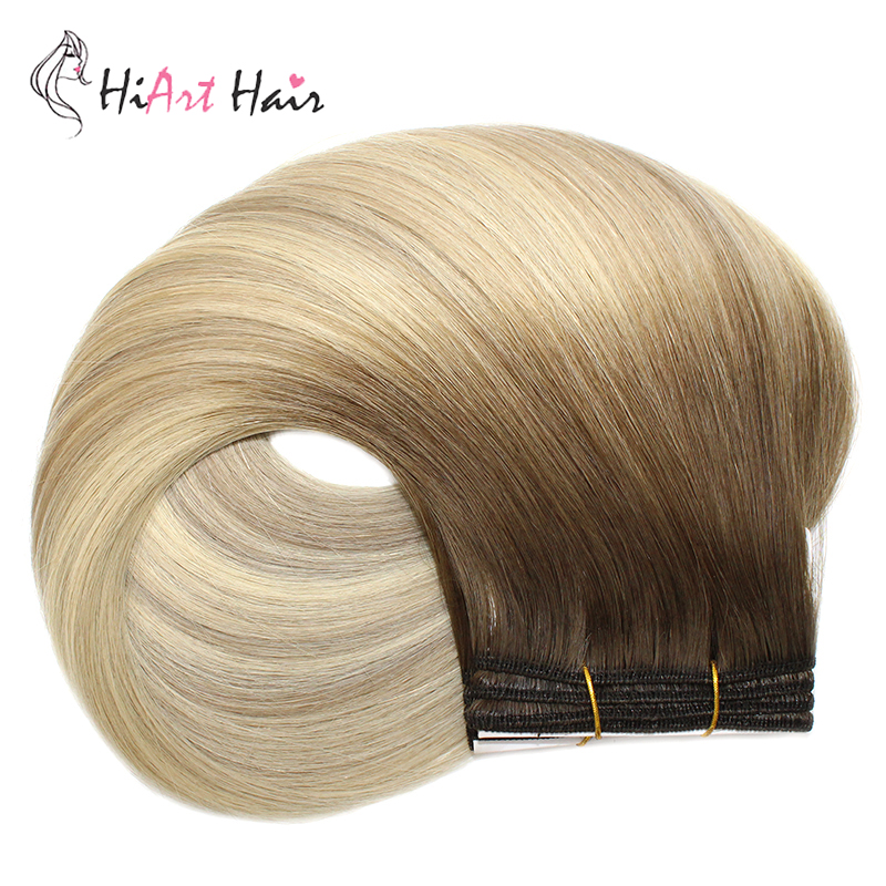 """HiArt 100g/pc Weft Hair Extensions In Hair Weaves 100% Real Human Hair Salon Pre-Bonded Balayage Double Drawn Straight 18""""20""""22"""""""