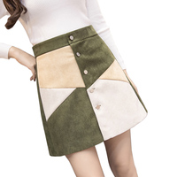 Autumn Suede Leather A Line Skirt Winter 2017 Fashion Hit Color High Waist Skirts Womens Buttons