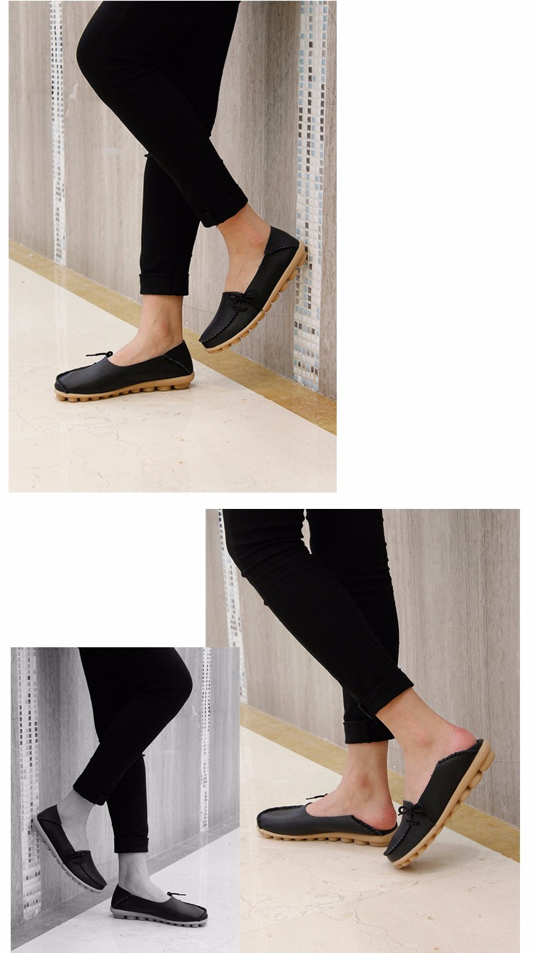 2016 New Real Leather Woman Flats Moccasins Mother Loafers Lacing Female Driving Casual Shoes In 16 Colors Size 34-44 ST179 (27)
