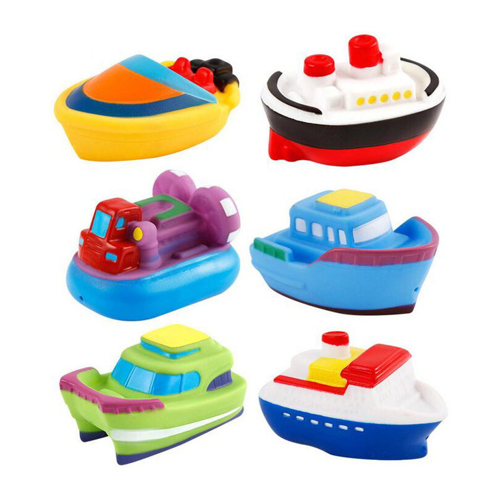 Spraying Swimming-Pool-Toys Bath-Toys Children for Squeeze Soft-Silicone-Boat Baby 6pcs/Set