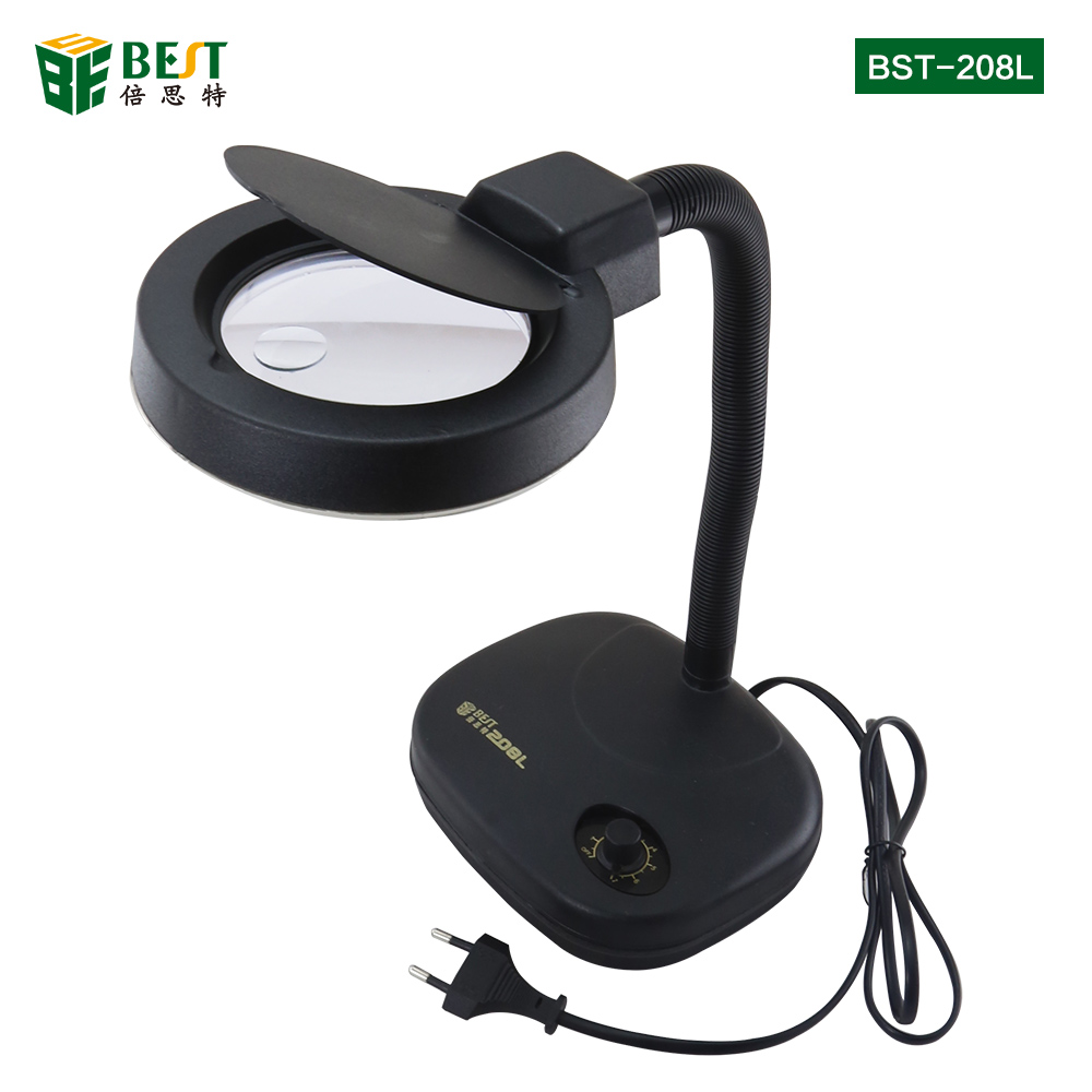 BST-208L Adjustable LED Magnifying Glass Table Lamp LED Lights 5X 10X Magnification
