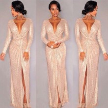 2015 New Long Sleeve Sequins Deep V-neck Slit Prom Dresses
