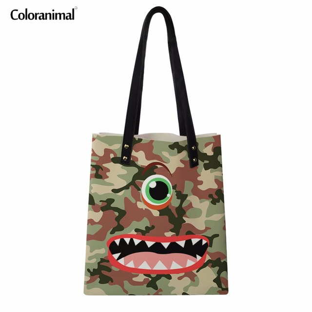 e767ff75c6f9 US $14.99 25% OFF|Coloranimal New Arrival Designer Women Tote Shopping  Shoulder Bags Student Funny Cartoon Emoji Face Print Ladies Canvas  Handbags-in ...