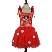 Fantaisie Enfants En Bas Âge Rouge Rose Polka Dot Party Tulle Tutu Robe Costume Enfants Filles Mignonnes Robes pour la Fête De Noël Filles