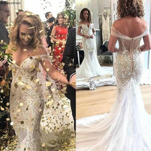 Sexy Off Shoulder Mermaid Wedding Dress Dubai Backless Appliqued Garden Country Church Bride Bridal Gown Custom Made Plus Size